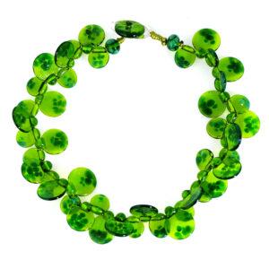 Collana LEI girocollo verde trasparente. Gioielli contemporanei in vetro di Murano Olimpia Aveta Design