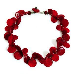 Collana LEI girocollo rosso ciliegia. Lunghezza collana 45cm Gioielli contemporanei in vetro di Murano