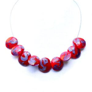 Conchiglie rosso e viola Olimpia Aveta Design gioielli contemporanei in vetro di Murano