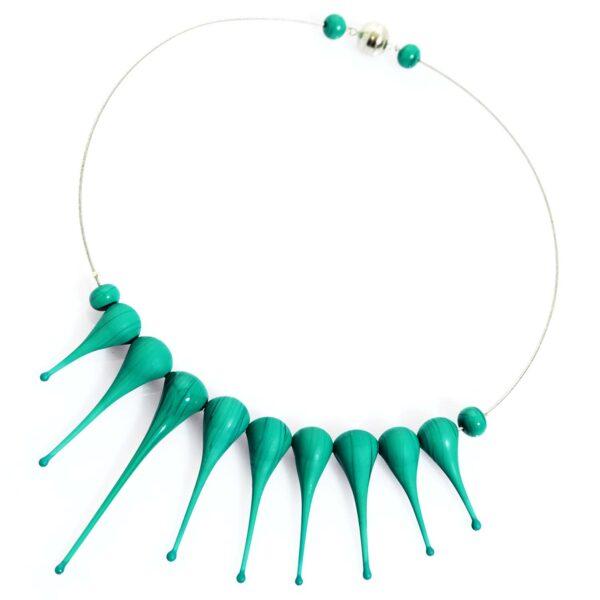 Collana Artigli verde petrolio. Olimpia Aveta Design gioielli contemporanei in vetro di Murano