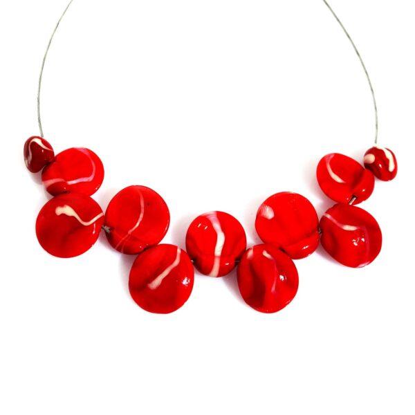 Conchiglie Marmored rosso porpora e avorio Olimpia Aveta Design gioielli contemporanei in vetro di Murano