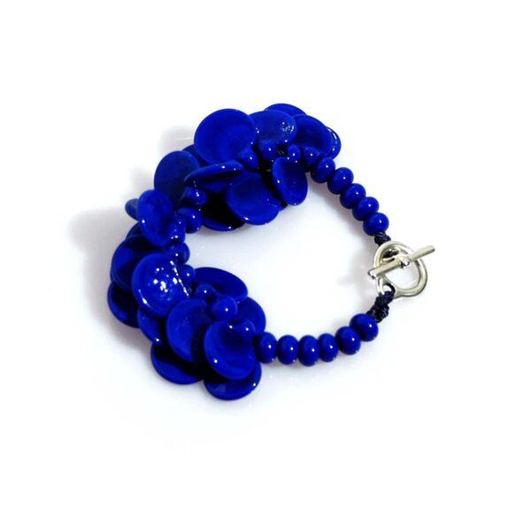 Bracciale LEI blu lapis Olimpia Aveta Design gioielli contemporanei in vetro di Murano