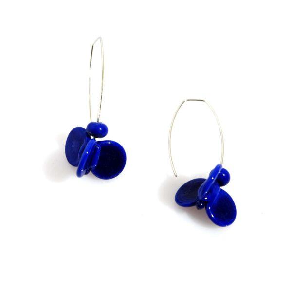 Orecchini LEI blu lapis Olimpia Aveta Design gioielli contemporanei in vetro di Murano