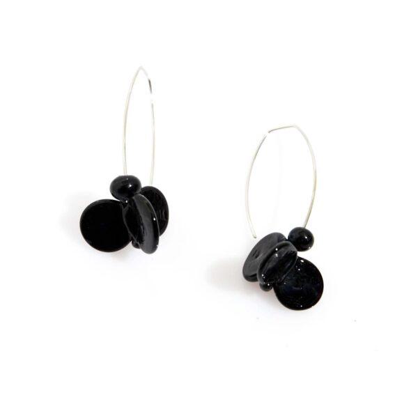 Orecchini LEI neri Olimpia Aveta Design gioielli contemporanei in vetro di Murano