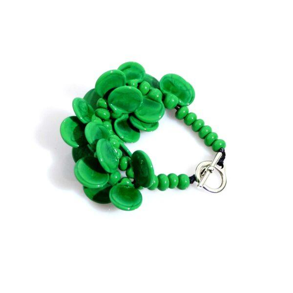 Bracciale LEI verde erba Olimpia Aveta Design gioielli contemporanei in vetro di Murano