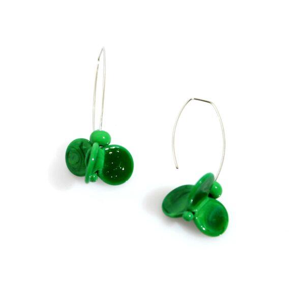 Orecchini LEI verde erba Olimpia Aveta Design gioielli contemporanei in vetro di Murano