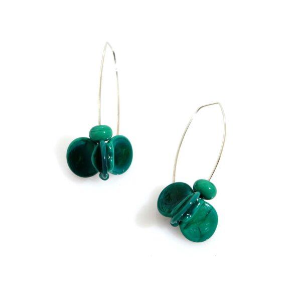 Orecchini LEI verde petrolio Olimpia Aveta Design gioielli contemporanei in vetro di Murano