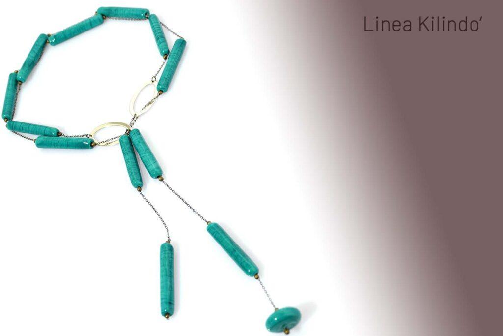 Collana Kilindo' sautoir verde petrolio Olimpia Aveta Design Gioielli contemporanei in vetro di Murano
