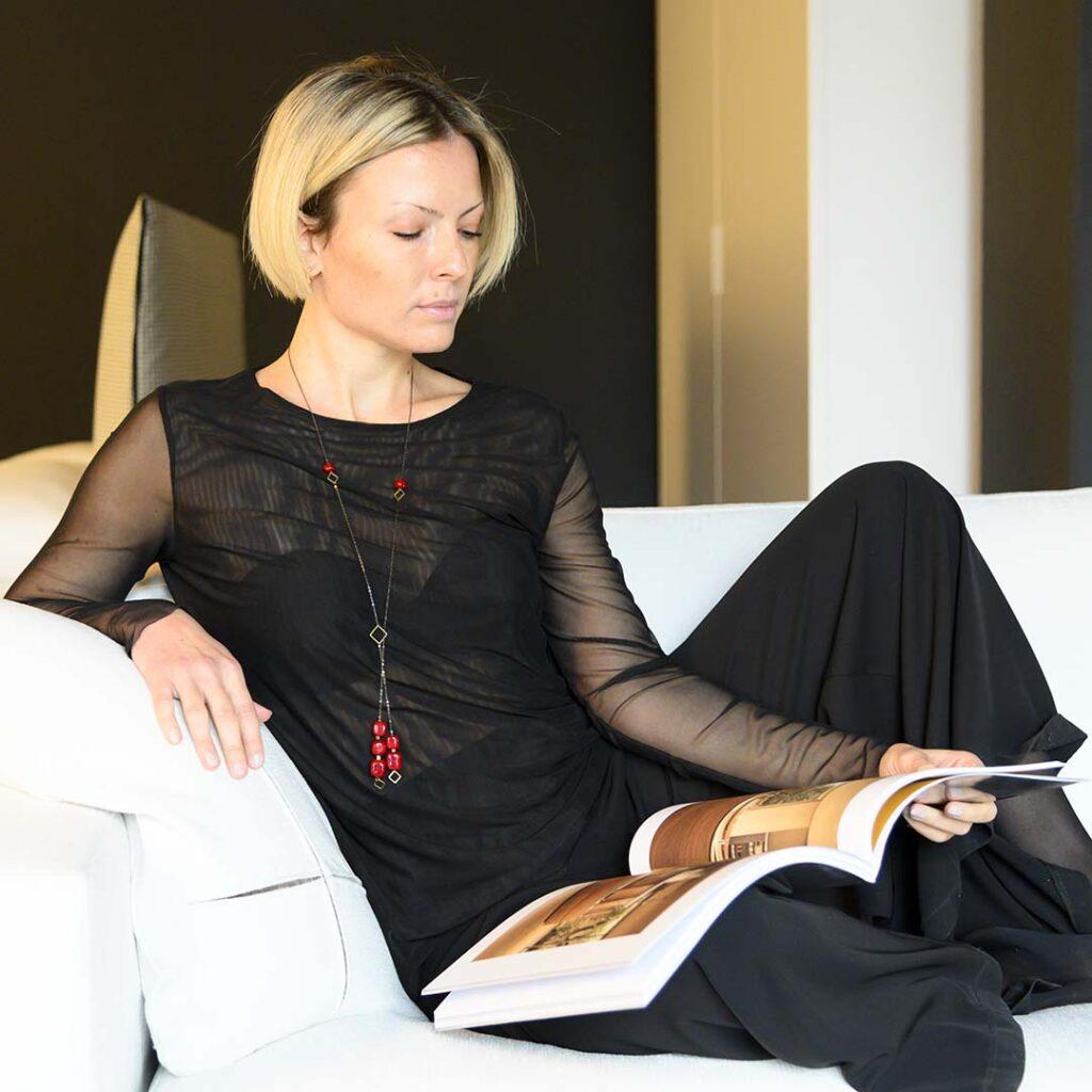 Collana con ciondolo Light Cube in vetro di Murano Olimpia Aveta Design